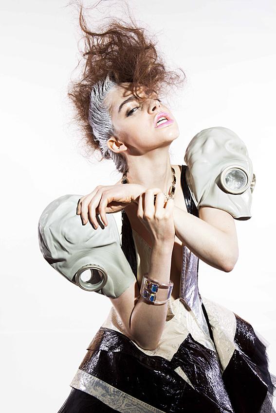 dress by Reem, necklace Atelier Swarovski by Holly Fulton, tube bangle Atelier Swarovski by Kirt Holmes, cuff bangle Atelier Swarovski by Joseph Altuzarra.