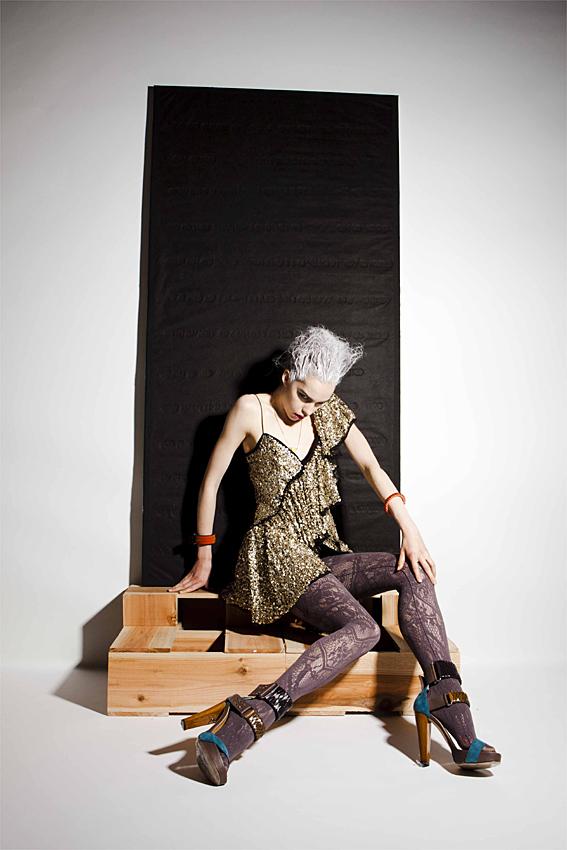 Dress BOWIE, tights SOMARTA, bangle and shoes Araisara, necklace Toga Pulla, tube bangle Atelier Swarovski by Kirt Holmes