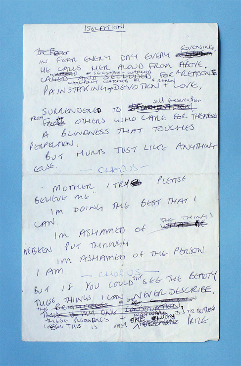 Ian Curtis A4 hand-written lyric sheet