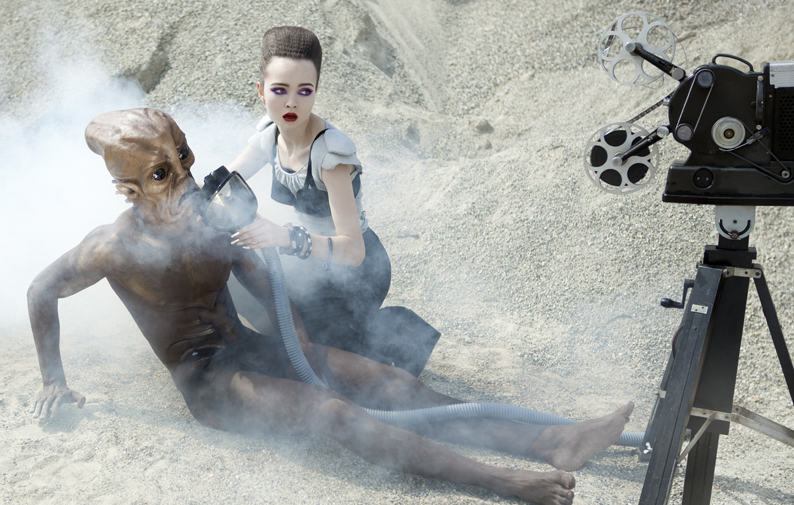 Alien fashion shoot: metal top by Monica Bolzoni / Bbland, bra by La Perla, suit by Milly, shoes by Robert Clergerie, metal nails by Nat Milano, bracelets by Sharra Pagano