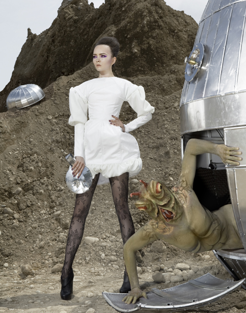 Alien fashion shoot: dress by Lidija Stanojcic, tights by Pierre Mantoux, shoes by GF Ferre', pochette by Monica Bolzoni / Bbland