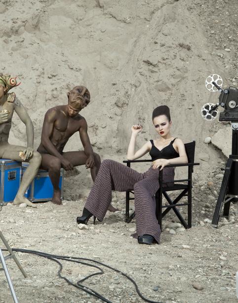 Alien fashion shoot: trousers by Missoni, bra by Antonio Marras, shoes by Manila Grace