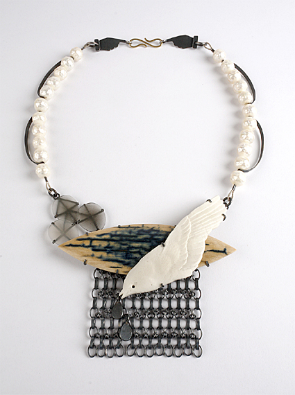Jewellery Exhibition: Zoe Arnold, Autumn Rain necklace. oxidised silver, mammoth ivory, faceted agate, porcelain bird, faceted pearls, 18ct gold