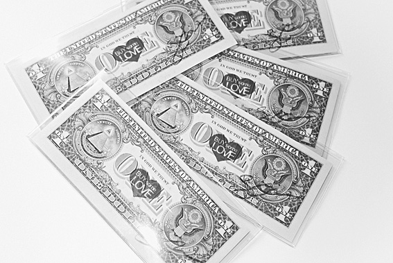'Buy Some Love': Money Art by New York artist, Skye Nicolas