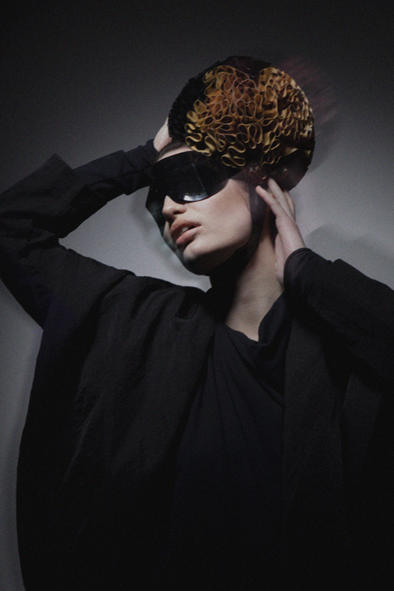 coat by Monolik, one-piece Elanty Illanesh, eyes & headpiece by Atsuko Kudo