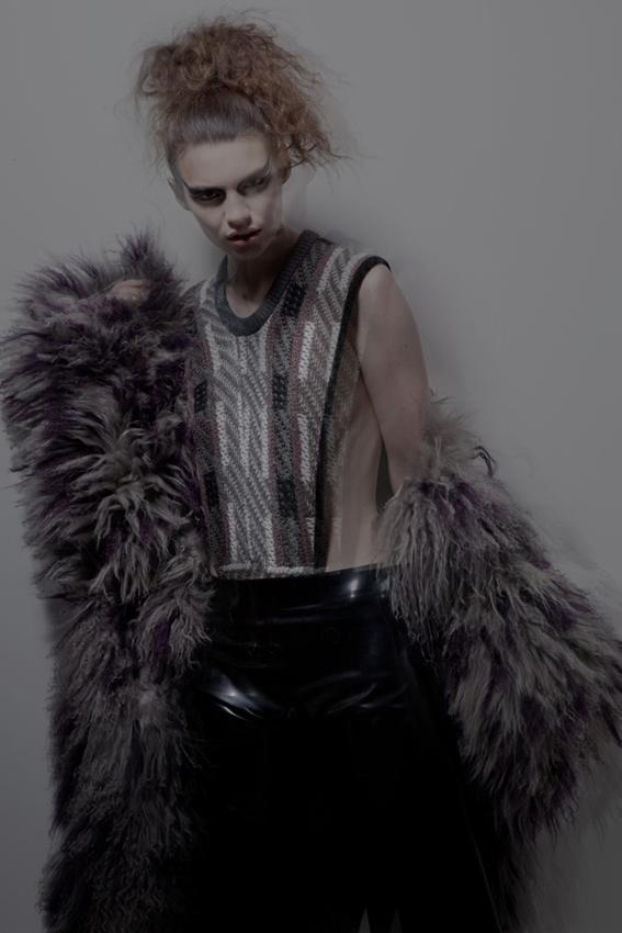 fur coat by Olivia Deane, bodysuit by Andrea Crews, pants by Atsuko Kudo