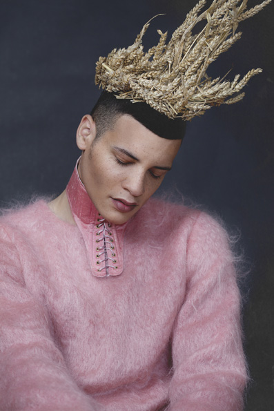 Holy Ego Menswear: Jumper by Julia Reimann; Crown by Katharina Domokosch; Neckpiece by Patrick Ian Hartle