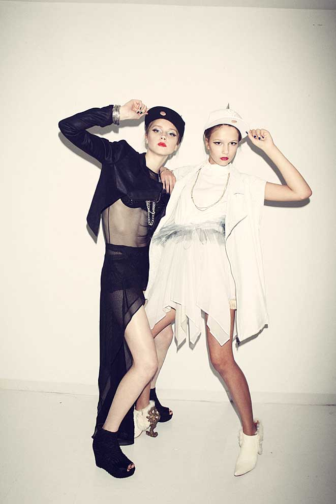 Japanese designers: Left:- Jacket NUBOAIX, leotard BANAL CHIC BIZARRE, skirt A DEGREE FAHRENHEIT, others stylist's own, Right:- Jacket and One-piece SHIROMA, shoes MASAYA KUSHINO, others Stylist's Own