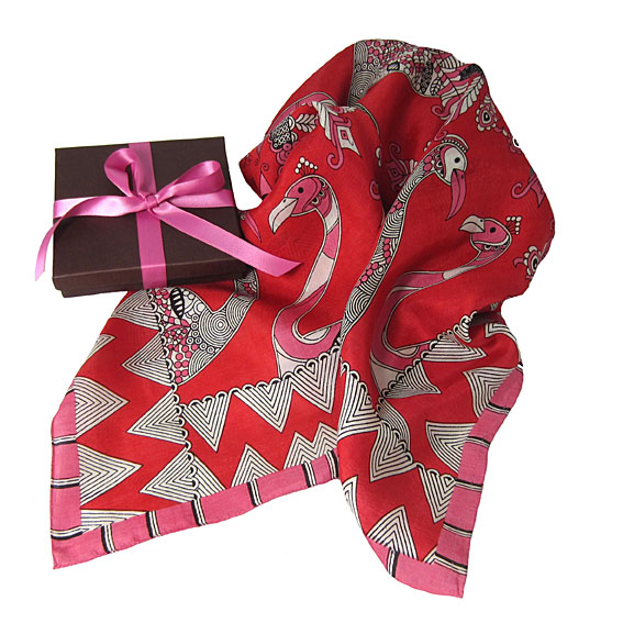 silk scarf, bird scarf