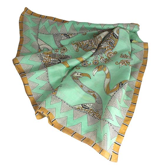 silk scarf, bird scarf