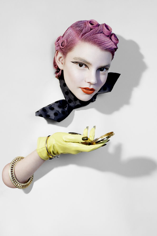 scarf by Miu Miu, gloves by Corder (customised by stylist), bracelets by Lulu Frost