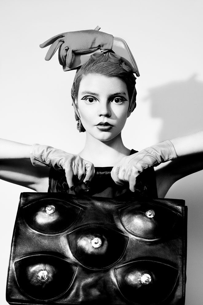 handbag by Taesok Kang, head piece by Hiroko Nakajima, gloves by Corder