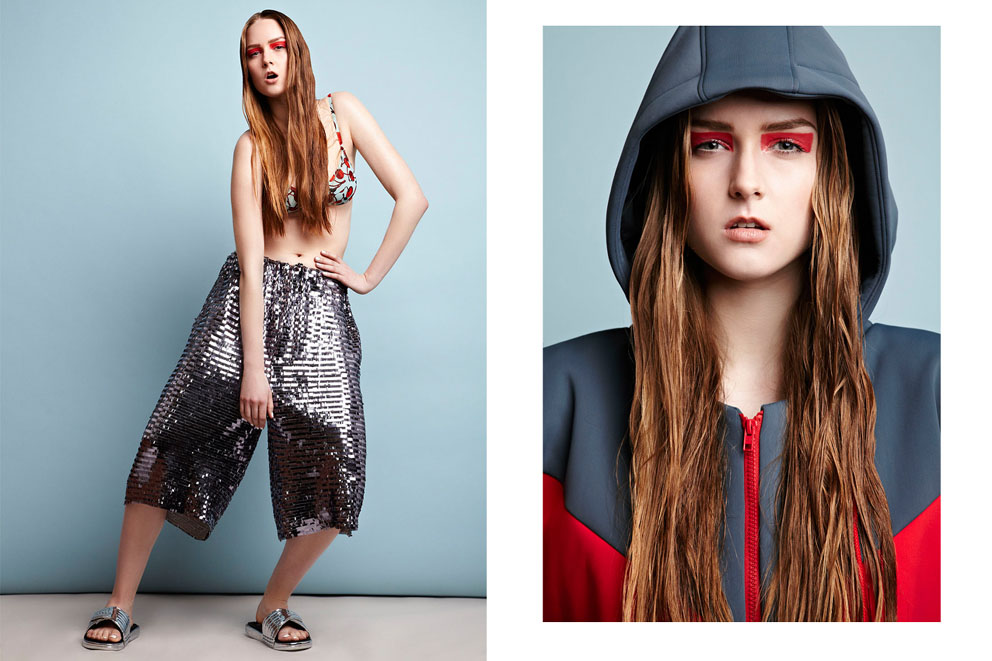 Sports fashion photography: Left: bra vintage Dolce & Gabbana, sequin shorts Shaun Sampson, sandals adidas vs Shaun Sampson. Right: coat Hildur Mist