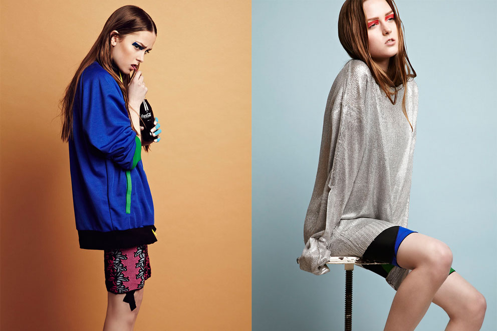 Sports fashion photography: Left: jacket Ismini Krassimenou, dress M Missoni, adornment Kinesio Tape. Right: silver sweater Shaun Sampson, shorts Ismini Krassimenou