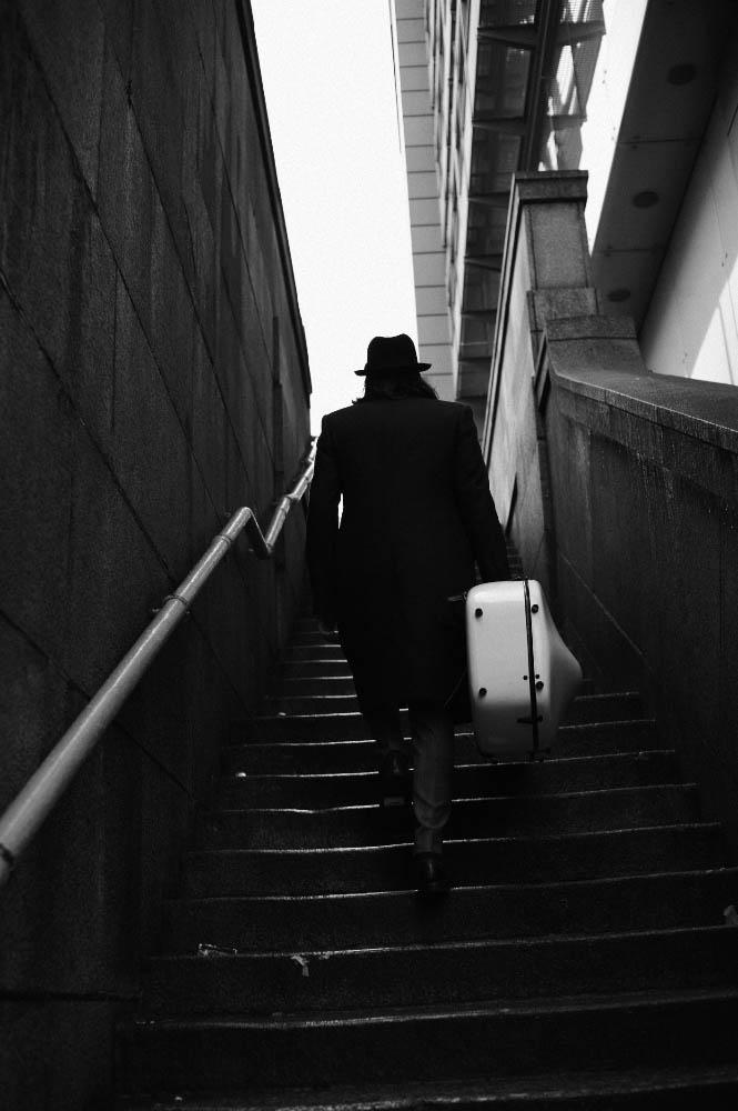 hat stylist's own, coat Richard Anderson, trousers Ben Sherman, shoes Beyond Retro
