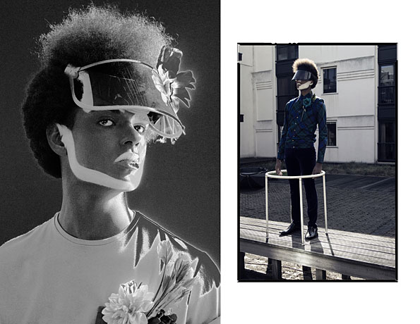Left: t-shirt by Kevin Lam, flower corsage + sunshade by Stylist's Own; Right: shirt by Niels Brinkman, trousers by Niels Brinkman, shoes by Hugo Boss, flower corsage / sunshade Stylist's Own