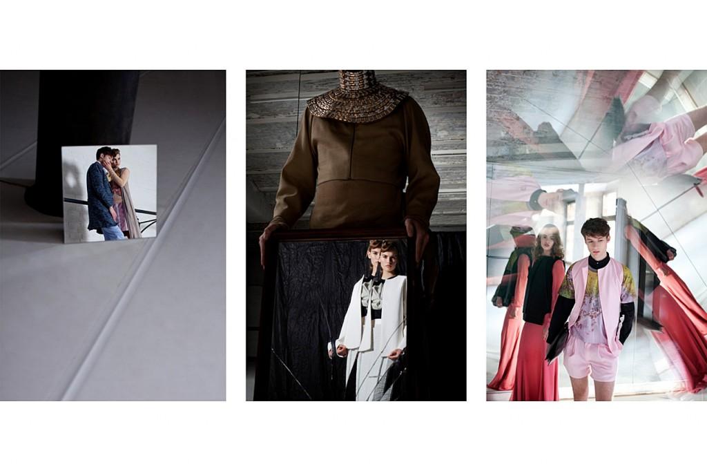 Schall & Schnabel Shoot: MIDDLE: Rosalie as before. Dino as before. RIGHT: Rosalie as before, Dino wears shorts, waistcoat & shirt IVAN MAN, t-shirt JULIAN ZIGERLI, shoes VELT, bag LOUISE FRIEDLANDER, necklace stylist own