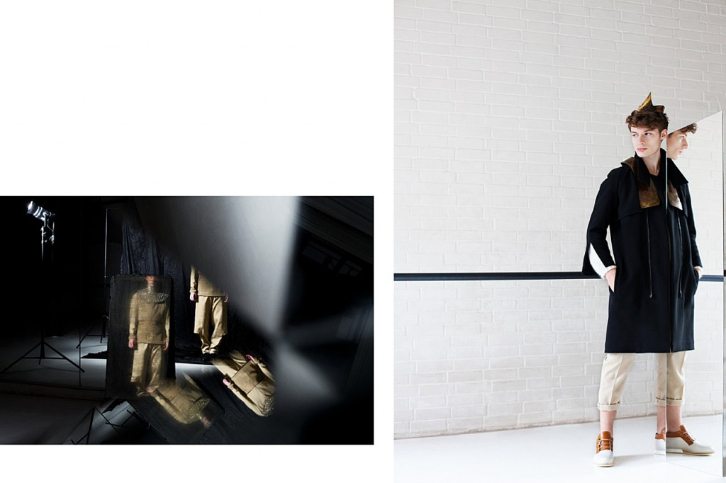 Schall & Schnabel Shoot: LEFT: Dino as before. RIGHT: Suit, sweater & coat as before, shoes VELT.
