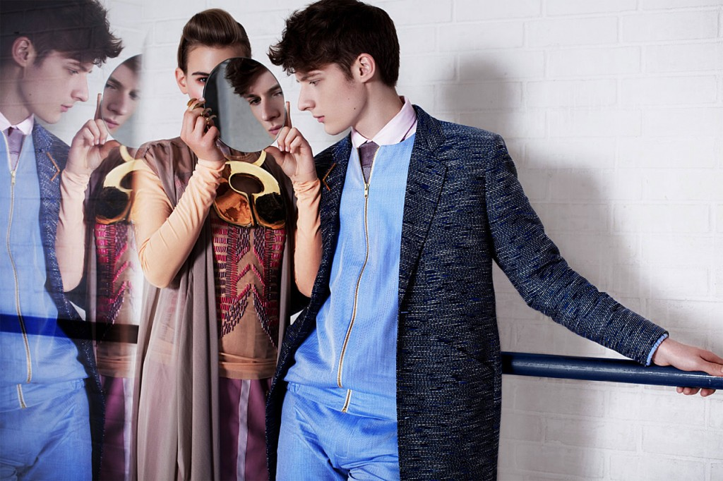 Schall & Schnabel Shoot: Rosalie wears dress, blouse & tunic GLAW, necklace LOUISE FRIEDLANDER, ring BJORG. Dino wears coat by SOULLAND, shirt by SUNSPEL, suit HIEN LE, brouche BJORG