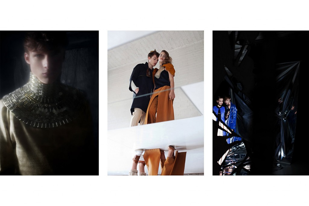 Schall & Schnabel Shoot: LEFT: tank top AUGUST, shorts VLADIMIR KARALEEV, trench coat SOULLAND, shoes BALLY. MIDDLE: Dino as before; Rosalie wears top KATHLYN MARIE, shoulder piece & trousers LOUISE FRIEDLANDER, necklace MARIA BLACK,  shoes MAISON MARTIN MARGIELA