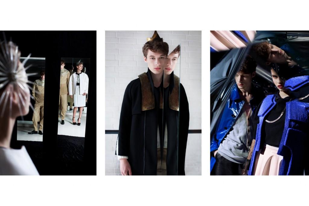 Schall & Schnabel Shoot: LEFT: Rosalie wears top MICHAEL SONTAG, skirt GLAW, coat & skirt LOUISE FRIEDLANDER. MIDDLE: Suit & sweater IVAN MAN, coat & accessories MARTIN NIKLAS WIESER. RIGHT: tank top AUGUST, shorts VLADIMIR KARALEEV, trench coat SOULLAND.