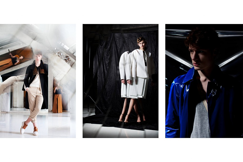 Schall & Schnabel Shoot: LEFT: Dino wears suit & sweater IVAN MAN, coat MARTIN NIKLAS WIESER, shoes VELT. MIDDLE: as before, shoes stylist's own. RIGHT: as before.