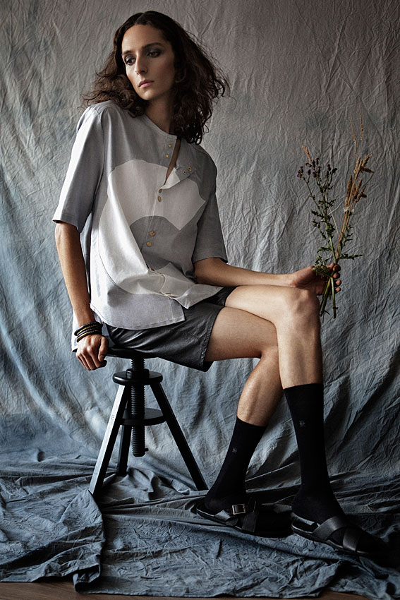 shirt by Clara Martin, shorts by Ingo Vintage, socks by Burlington, sandals by Anatomic, bracelets by Topman