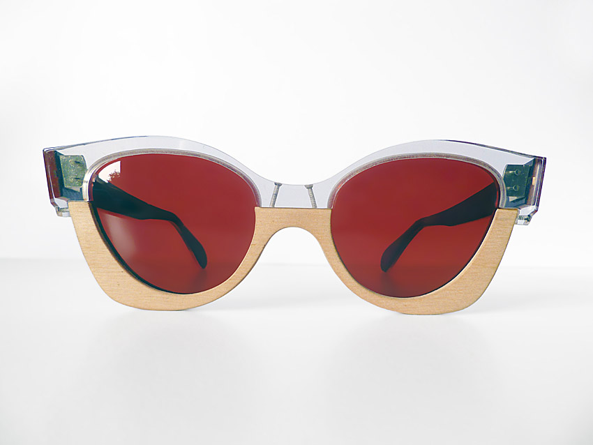 glasses with red lenses