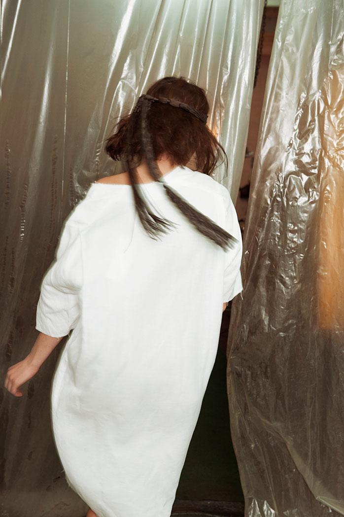 Anne Claire wears dress by Reality Studio, bandana stylists own