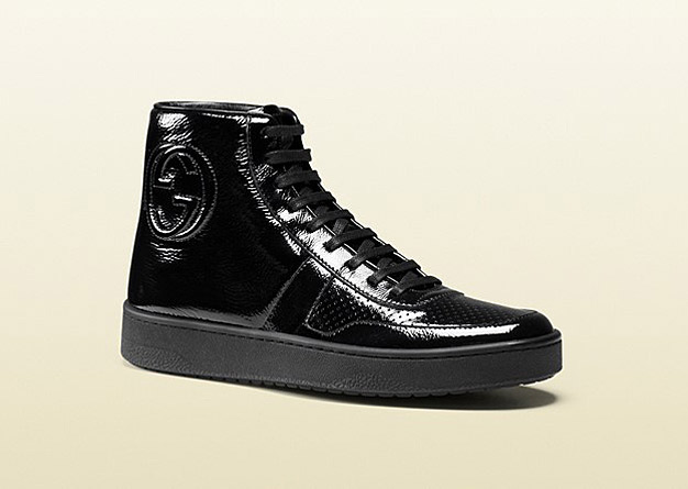 Gucci Black Soft Patent Leather High-top Sneaker