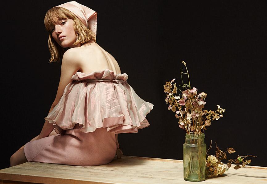 Lou Scoof wears Dress by Pamplemousse, headscarf stylist own