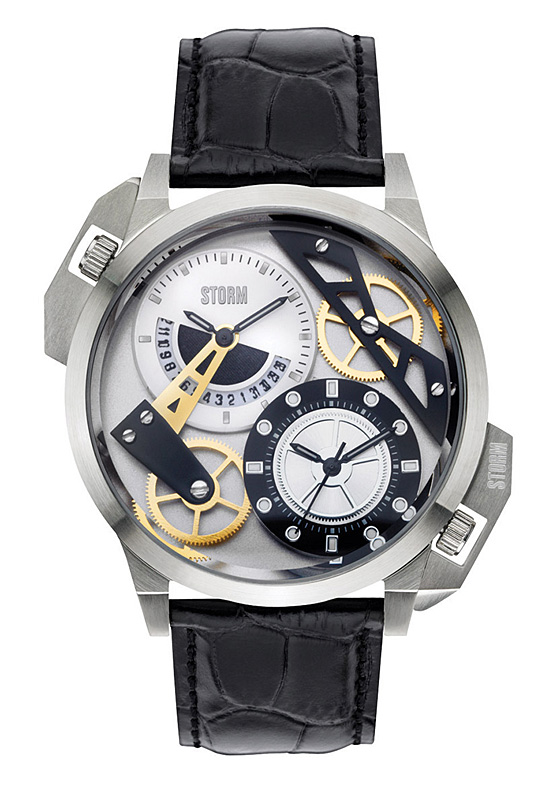 STORM Dualon leather & silver watch