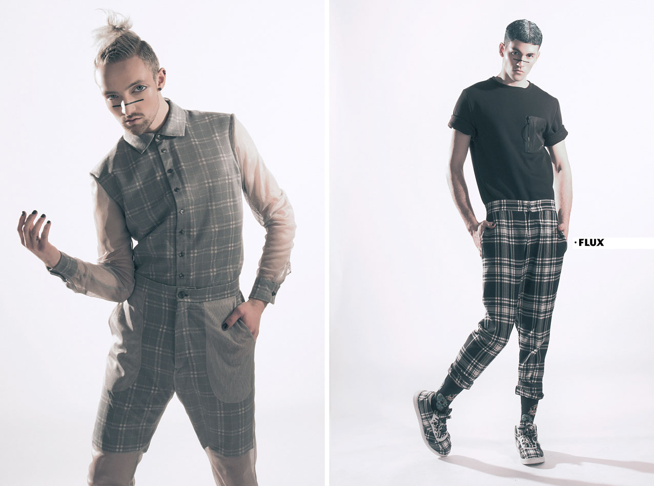 SS16 menswear. LEFT: NICO wears grey mesh shirt and trousers with check print by Merel Weijgers.  RIGHT:  PEDRO wears black short sleeve sweatshirt with zipper River Island, black and white check trousers and sneakers by Merel Weijgers, black socks with skull print by Topman.