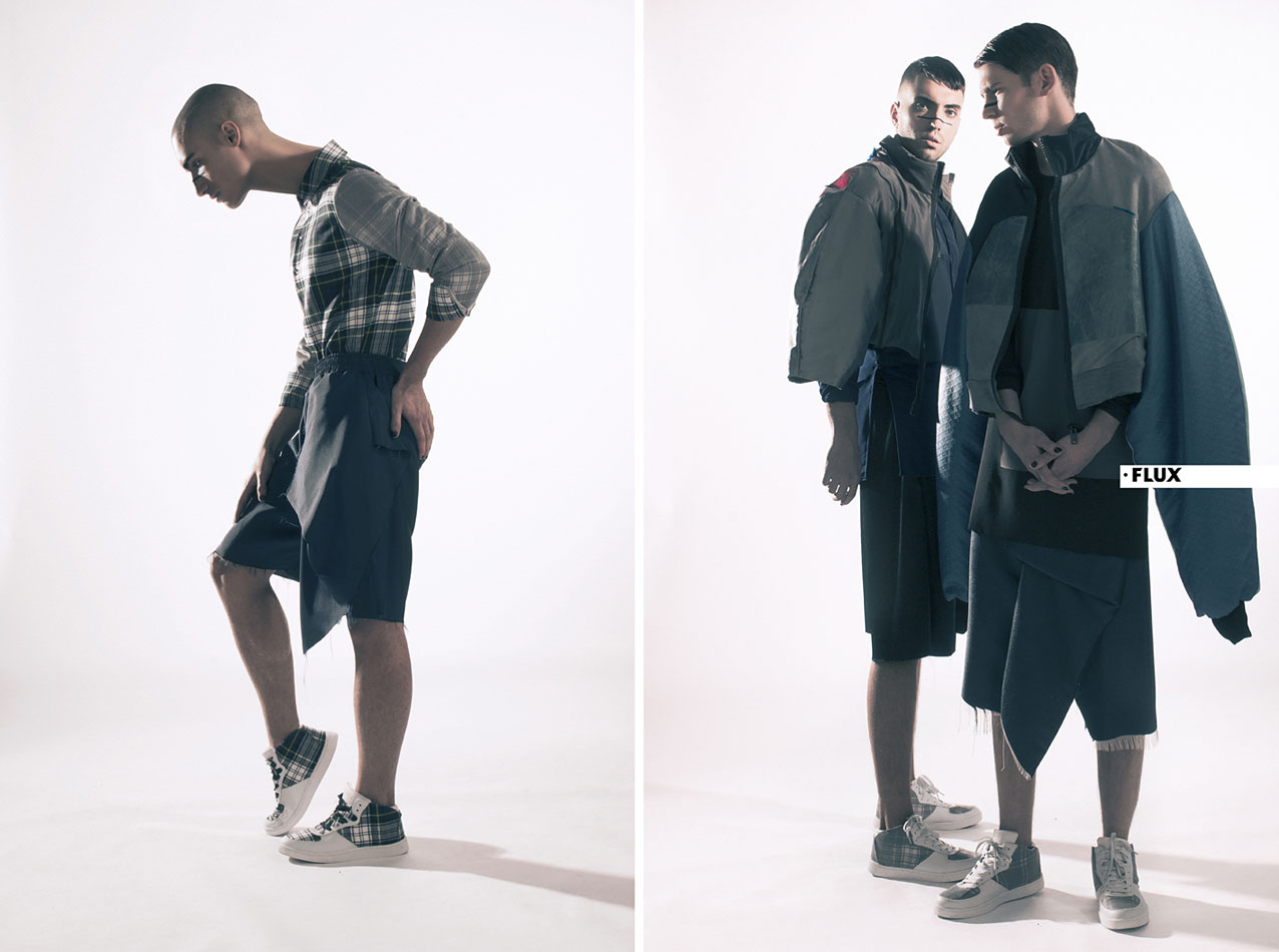 Mens-fashion-SS16-Left: Check shirt and sneakers by Merel Weijgers, blue oversized shorts by Tamara van Klooster. Right: CLINT and BOAZ wear bombers, shirts and oversized trousers all by Tamara van Klooster, white sneakers by Merel Weijgers