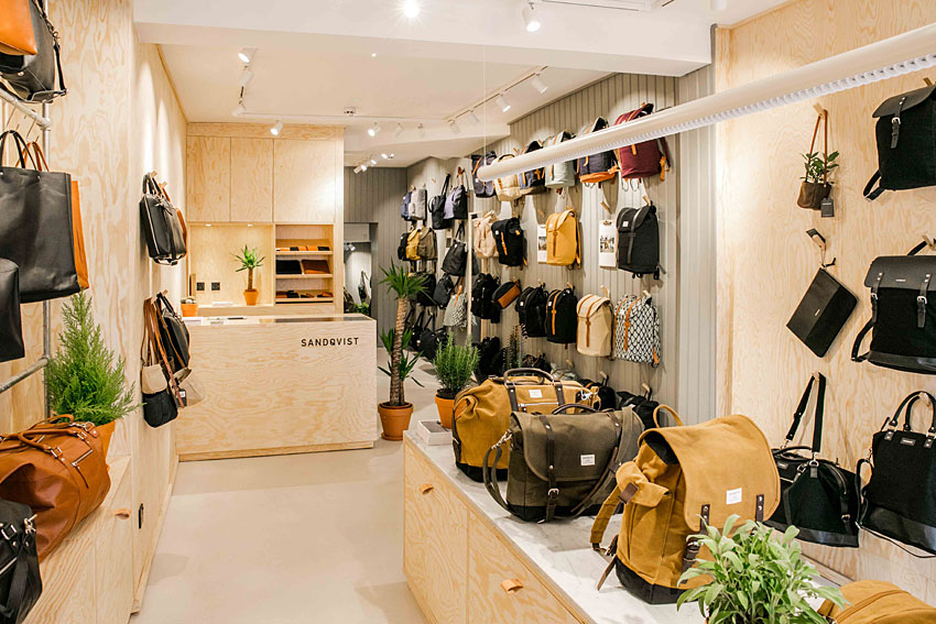 luxury backpacks, sandqvist bags, soho shops