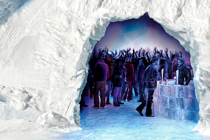 party in an Ice Cave