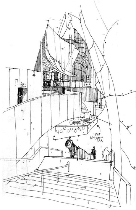 Web-Frank-Gehry-Famous-Building-Drawing-Urban-Sketchers-Rain-and-rock-at-Seattle's-EMP-Museum