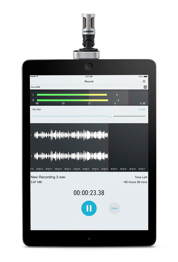 shure MV88 microphone for iPad