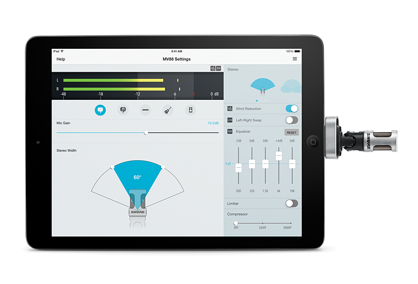 shure motiv MV88 microphone for iPad