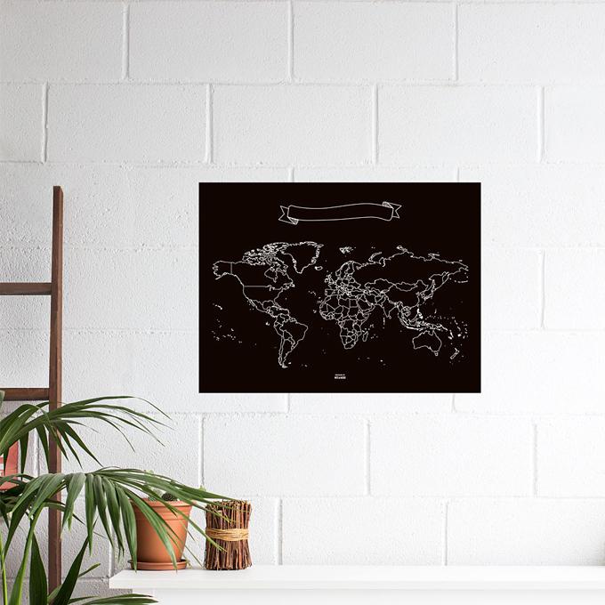 chalk board world map