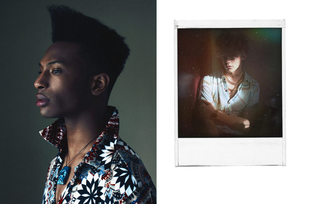 Shot 4 (Left): Mozher wears reclaimed vintage shirt via asos, necklace by Sepehr Maghsoudi______Shot 5 (Right): Tuyk wears reclaimed vintage shirt via asos, belt/necklace by Misguided, watch by Casio