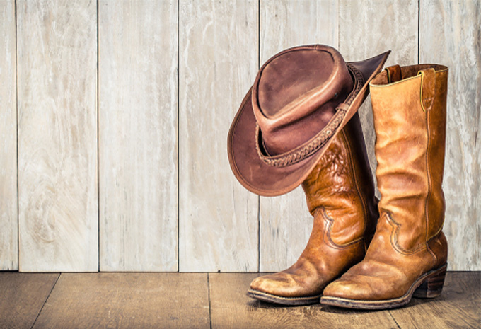 Mens Leather Cowboy Boots Long Pull on